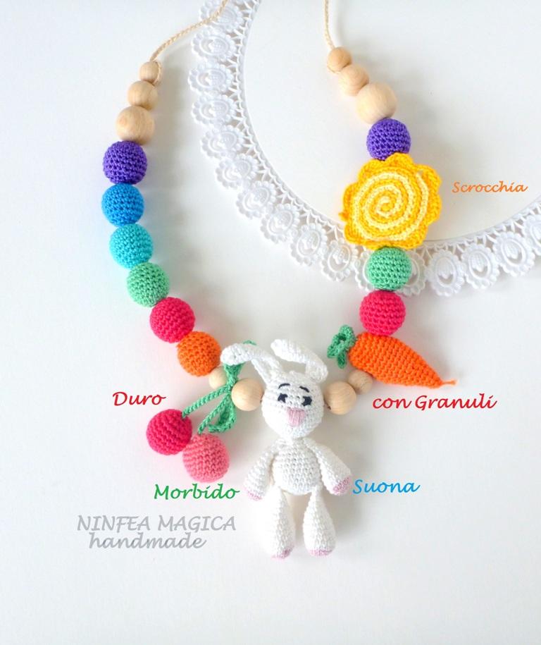 Collana allattamento sensoriale, arcobaleno, sonaglio
