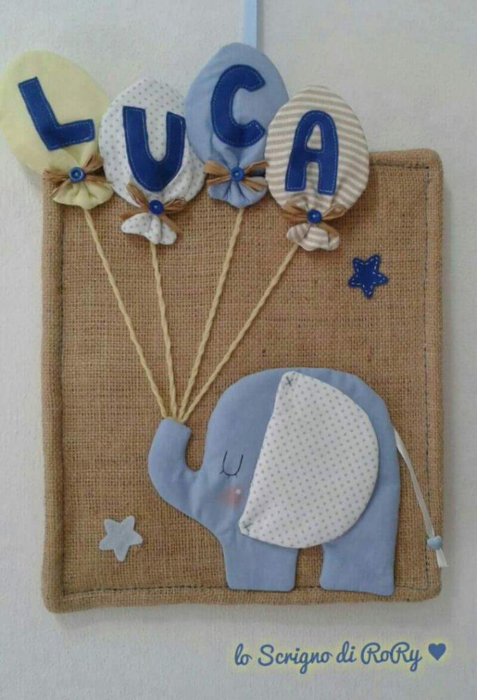 Fiocco nascita: un colorato elefantino