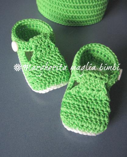 Scarpine neonato alla bebè/cotone verde - fatte a mano - uncinetto - baby shower