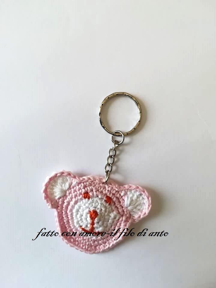 Portachiavi orsetto rosa / segnaposto