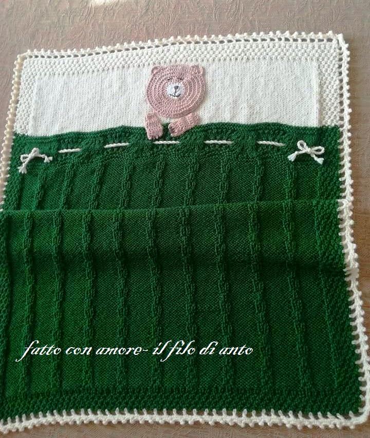 Copertina culla in pura lana 100%  con orsetto
