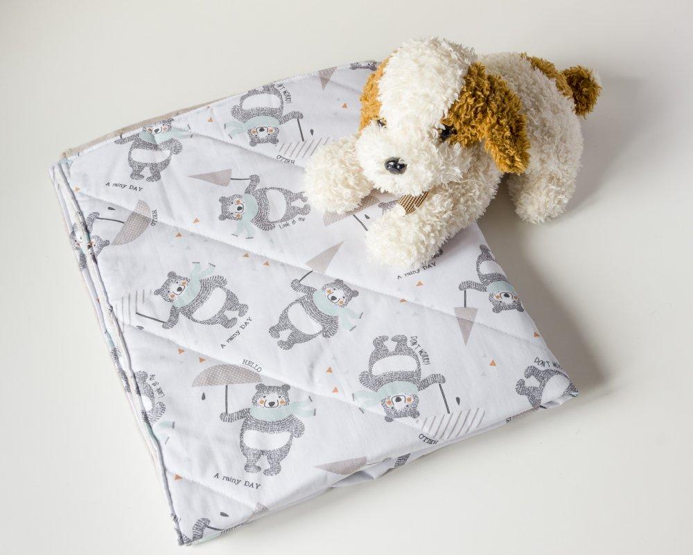 Copertina neonato in cotone  e minky per carrozzina o culla, trapuntina leggera con orsetti