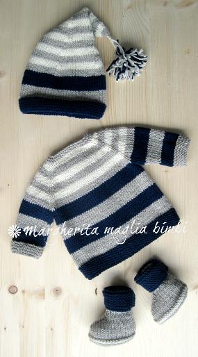 Cardigan/cappello/stivaletti - completo neonato/bambino - pura lana - fatto a mano